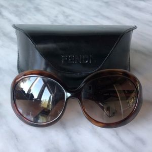 FENDI tortoise sunglasses with case. Like new.